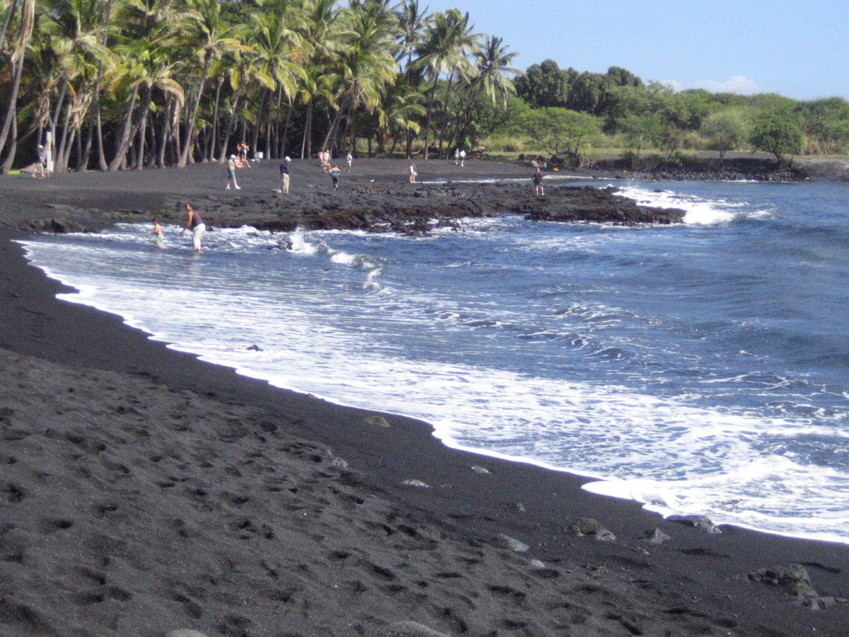 Punalu 39 u black sand beach on the big island Black sand beach hawaii